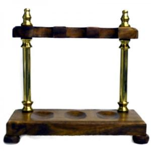 Wood with Brass Pillars Pipe Rack - Holds 3 Pipes