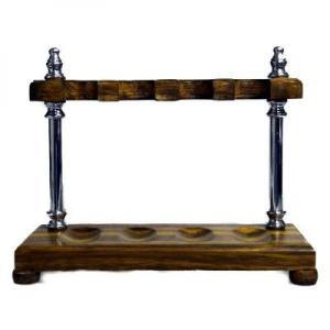 Wood with Chrome Pillars Pipe Rack - Holds 4 Pipes