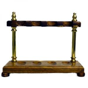 Wood with Brass Pillars Pipe Rack - Holds 4 Pipes
