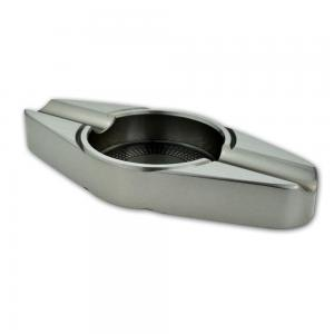 Angelo Stainless Steel Cigar Ashtray - 2 Cigar Rests