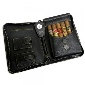 Adorini Leather Cigar Case with Cigars and Accessories Sampler - 5 Cigars