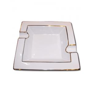 Cigar Ashtray – Two Cigar Rest – Square White and Gold