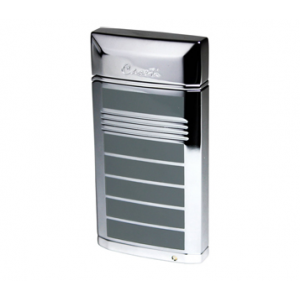 Caseti Jet Flame Lighter with Cigar Punch - Polished Chrome & Grey Lacquer