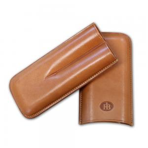Leather FB Robusto Cigar Case - Holds 2 Cigars - Tan