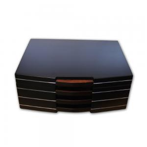Prestige Carlton Satin Black Finish Humidor - 100 Cigar Capacity