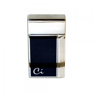 Caseti Full Cap Jet Flame Lighter - Chrome Plated Blue Lacquer