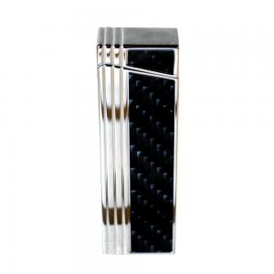 Caseti Push Button Jet Flame Lighter - Chrome Plated & Engine Turn Black Carbon