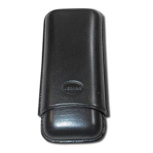 Jemar Leather Cigar Case – Large Gauge - Two Cigars - Black