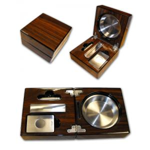Folding Cigar Ashtray With Accessories – Walnut Finish