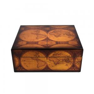 Old World Antique Map Humidor - 25 Capacity