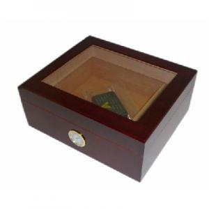 Mahogany Glass Top Humidor - 30 Cigar Capacity