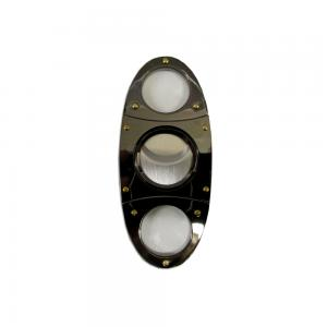 Chrome Stainless Steel Rounded Cigar Cutter with Gold Studs