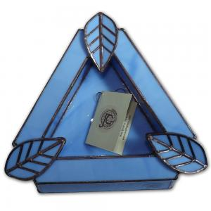 Artisan Glass Cigar Ashtray – Tri Rest  –  Sea Blue