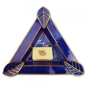 Artisan Glass Cigar Ashtray – Tri Rest  – Royal Blue