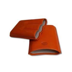 Jemar Leather Cigar Case - Large Gauge - Three Cigars - Orange