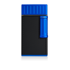 Colibri Julius Classic Double-flame Cigar Lighter - Black & Blue Lid