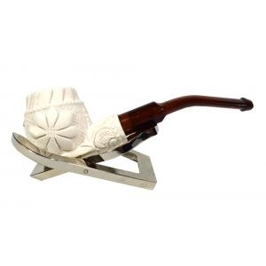 Meerschaum Small Floral Bent Fishtail Pipe (MEER78)