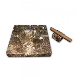 Ashtray and Cigar Stand Set - Natural stone  - Marron Imperial Marble