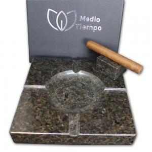 Ashtray and Cigar Stand Set - Natural stone  - Verde Uba Tuba Granite