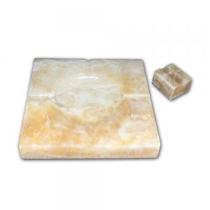 Ashtray and Cigar Stand Set - Natural stone  - Honey Onyx
