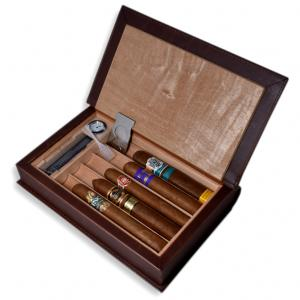 Book Shaped Humidor + Cigars Sampler - 5 Cigars