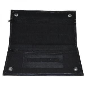Black Canvas Wallet With Rubber Lining And Paper Holder