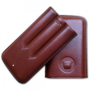 Dunhill Bulldog Cigar Case Corona Extra - Brown - Fits 3 Cigars
