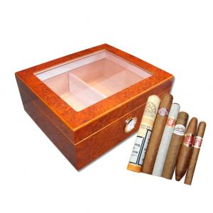 Eaton Glass Top Cigar Humidor and Budget Cuban Cigar Sampler