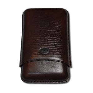 Jemar Leather Cigar Case - Large Gauge - Three Cigars - Brown