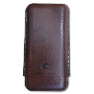 Jemar Leather Cigar Case - 3 Finger - 70 RG - Brown