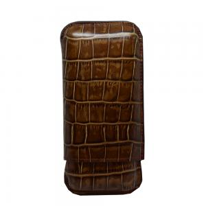 Recife Brown Textured Cigar Case - 3 Cigar Capacity