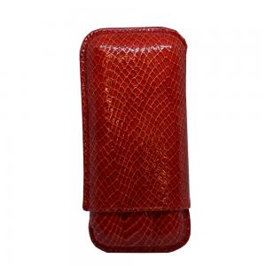 Recife Red Textured Cigar Case - 3 Cigar Capacity