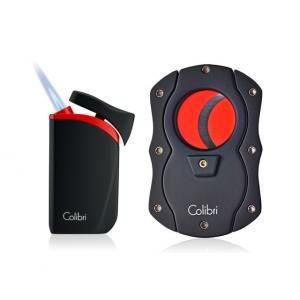 Colibri Falcon Single-jet Lighter & Cutter Set - Black & Red (Discontinued)