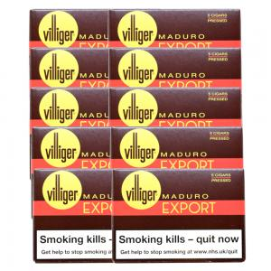Villiger Export Pressed Maduro Cigar - 10 Packs of 5 (50)