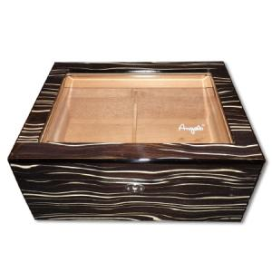 Angelo Glass Top Stripe Humidor – 50 Cigars Capacity
