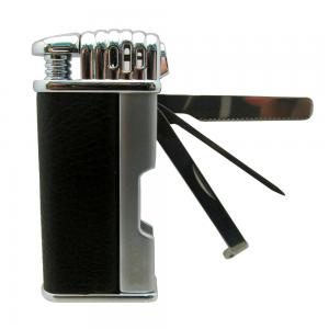 Zorr Pipe Lighter with Pipe Tool Black Leather and Silver