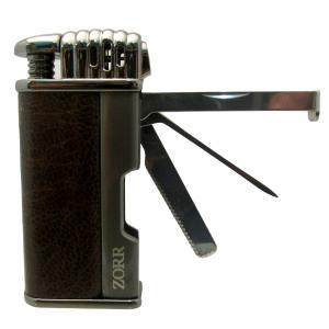 Zorr Pipe Lighter with Pipe Tool Brown Leather and Gunmetal