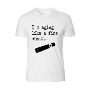 Aging Like a Cigar - White - Cigar Themed T-Shirt