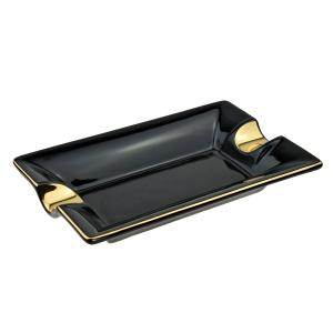 Ceramic Two Position Cigar Ashtray - Black and Gold