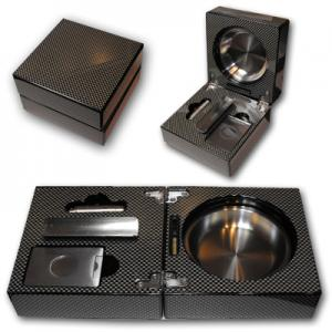 Folding Cigar Ashtray With Accessories - Carbon Fibre Look