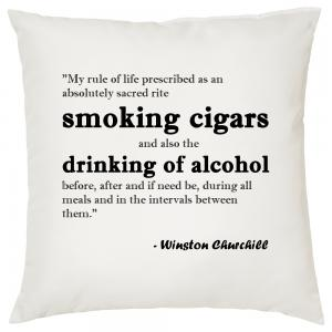Churchill Rule of Life Quote - Cigar Themed Cushion