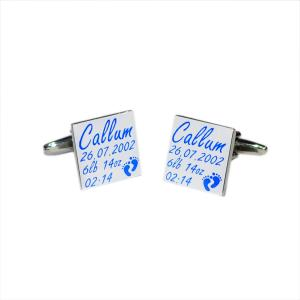 New Baby Boy Personalised Cufflinks