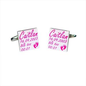 New Baby Girl Personalised Cufflinks