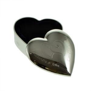 Wedding Ring Heart Entwined Personalised Box