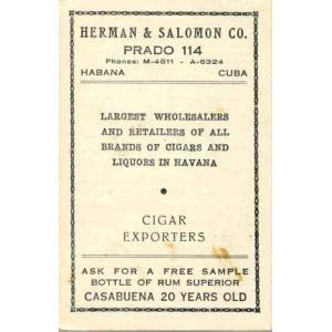 Promotional Card from Early Cigar Exporters