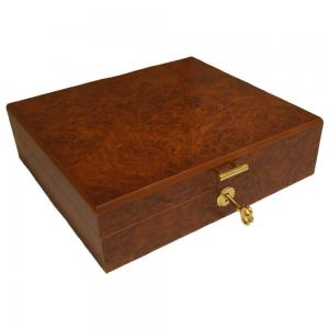 Light Burl Desk Top Humidor - 15 Cigar Capacity