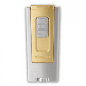 Xikar Trezo Triple Jet Flame Cigar Lighter - Silver & Gold (End of Line)