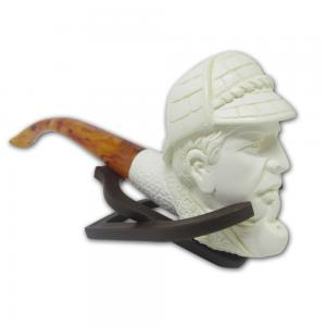 Cavalier Pipe Smoking Man With Hat And Light Stem Medium Meerschaum Pipe