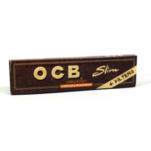 OCB Unbleached Virgin Slim King Size Rolling Papers + Filters 1 Pack