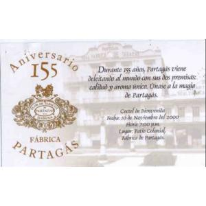 Invitation for Partagas factory and Shop to Celebrate 155th Anni